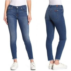 Seven For All Mankind Skinny Ankle Jeans Raw Hem